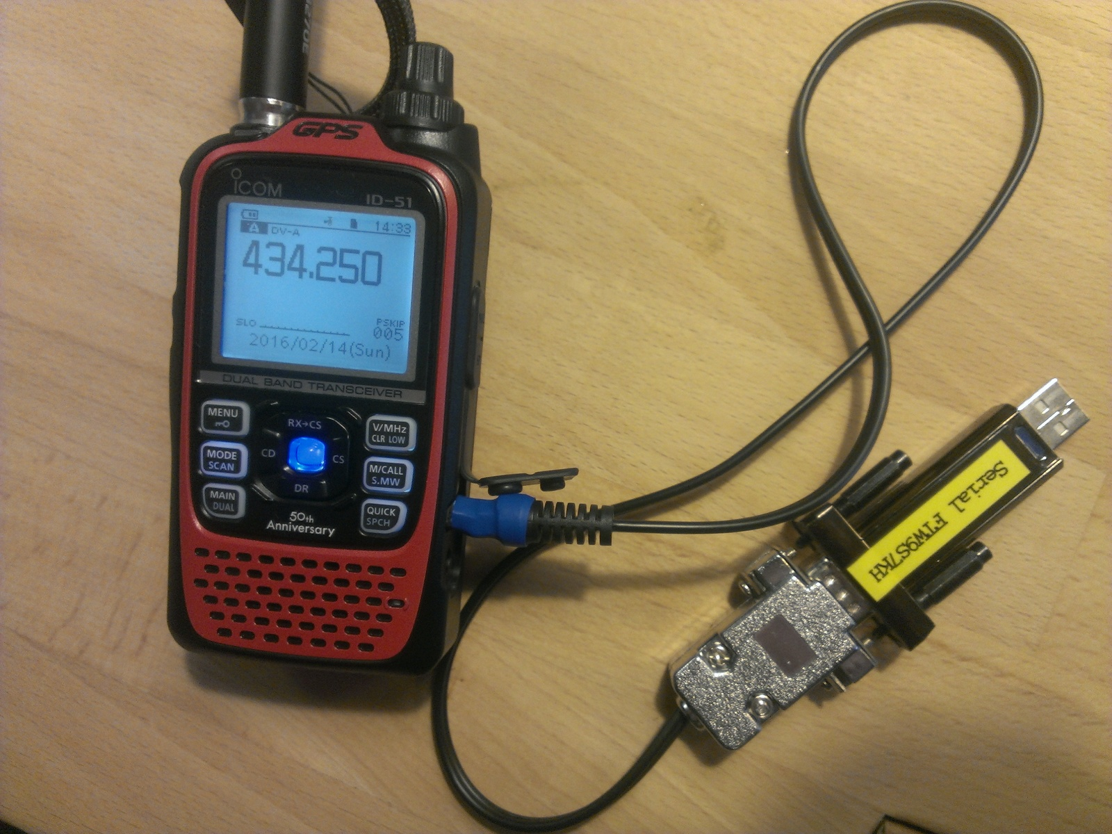 ICOM ID-51 with selfmade data cableclose. Excerpt from service manualclose